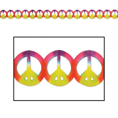 Peace Sign Garland (dip-dyed) Party Accessory  (1 count) (1/Pkg) -