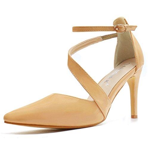 Allegra K Women Asymmetrical Strap Stiletto Pointy-Toe Pumps (Size US 7) Nude