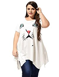 Allegra K Ladies Plus Size Scoop Neck Cat Head Prints Casual Pullover Dress