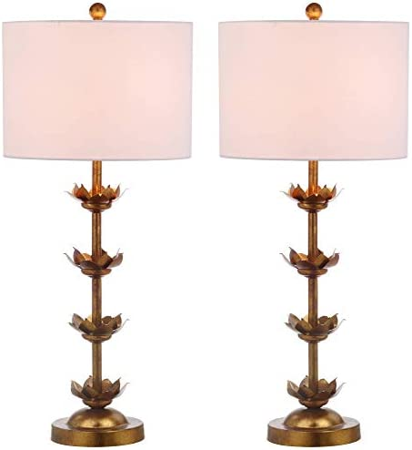 "Safavieh TBL4016A-SET2 Lighting Collection Lani Leaf 32"" Antique Gold Table Lamp"