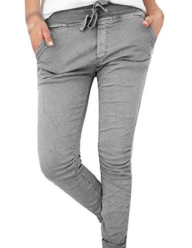 BOLAWOO Pantalone Donna Elastico Slim Con Coulisse Pantaloni A Matita Monocromo Fashion Eleganti Mode di marca Accogliente Tempo Libero Pantaloni Trousers Pantaloni Per Donna Grau