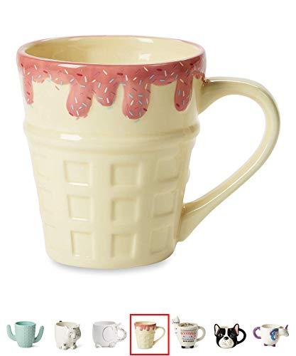 - Ceramic Coffee or Tea Mugs: Tri-Coastal Design Ice Cream Coffee Mug with Hand Printed Designs - 18.6 Fluid Ounce Large, Cute Handmade Cup