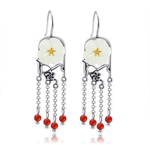 (925 Sterling Silver White Jade Dangle Earrings For Women, Flower Shaped 5A Hetian Genuine Jade Earrings With Red Agate Beads Tassel, Women Drop Earrings Handmade)