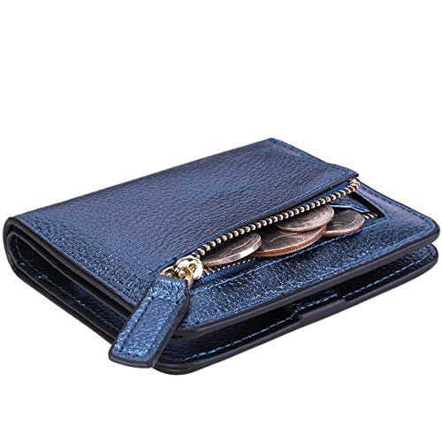 Itslife Women's Rfid Blocking Small Compact Bifold Leather Pocket Wallet Ladies Mini Purse with id Window (Pebbled Blue Gold)