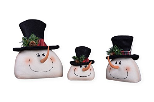 Plaid Top Hat (Snowman Head Top Hat Family with Plaid Trim 12 x 9 Plush Christmas Figurine Set of 3)