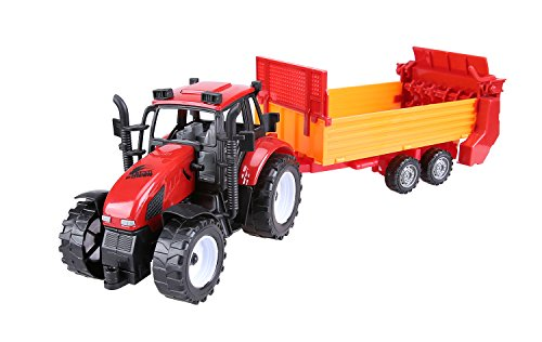 Cltoyvers Friction Powered Big Farm Tractor with Sowing Trailer Farm Equipment Seeding Machine Toy for Kids - Red (Powered Farm)