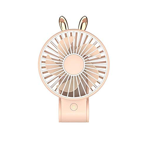 (Portable Handheld Lovely Cartoon Fan, Foldable USB Mini Fan, Suitable for Family/Office/Camping/Outdoor/Travel (Color : Rabbit-Pink))