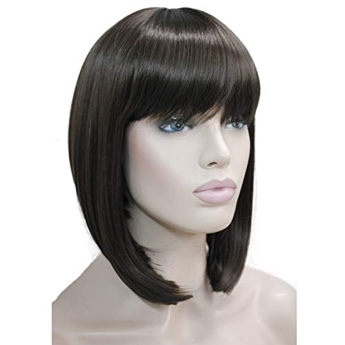 - Lydell Short Bob Wigs No Part Full Synthetic Hair Wig Brown (#6) 10 inch