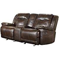Homelegance Double Glider Reclining Love Seat with Console in Dark Brown Leather Gel Match