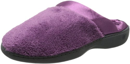 Isotoner Women's Microterry PillowStep Satin Cuff Clog Slippers, Ultraviolet, 8.5-9 B(M) US