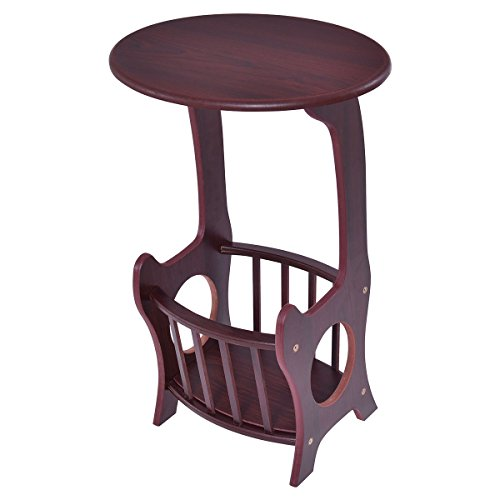End Table Oval Shape Coffee Couch TV Snack Chair Sofa Tray Side with Magazine Rack Wood (Oval Tv Tray)