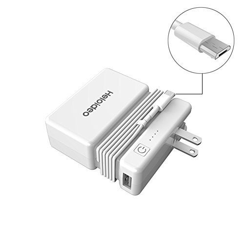 Heloideo 4 in 1 Micro USB 6000mAh Wall Charger, Power Bank with Built-in AC Plug, Micro USB Cable and Cell Phone Stand for...