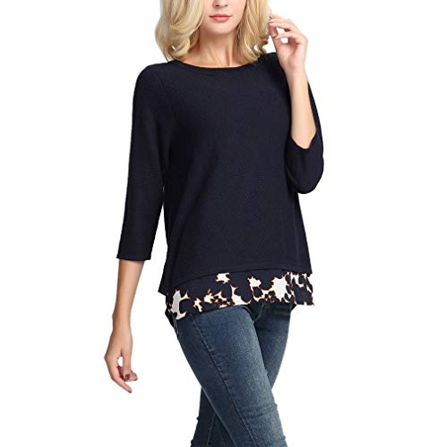 Pullover 3/4 Sleeve (YTUIEKY Women's Sweater Pullover Casual Loose 3/4 Sleeve Round Neck Knits)