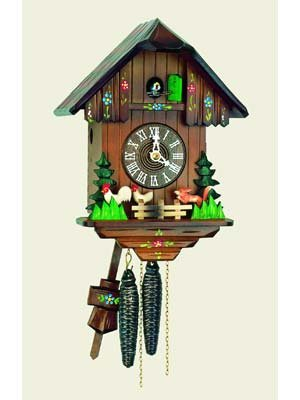 Original One Day Movement Cuckoo Clock with Moving Fox and Chickens 11 Inch