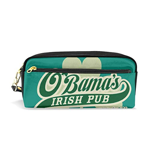 ALLDET-PU Obamas Irish Pub Customizable Novelty Colored Cosmetic Bag Zipper for Travel Storage Makeup Bags Purse ()
