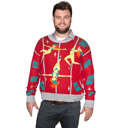 Pole Dancing Elves Ugly Christmas Sweater-FunQi, Red (Large) (Ugly Xmas Sweaters For Men)