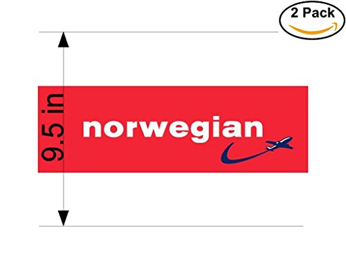 Norwegian Air Shuttle Airlines Airplane Sticker Decal 2 Stickers Huge 9.5 Inches