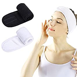 Facial Spa Headband – Makeup Shower Bath Wrap Sport Headband Terry Cloth Adjustable Stretch Towel with Magic Tape