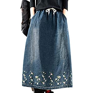 Women's Casual Denim Skirts Long Length Style Embroidery