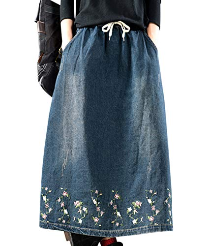 Women Fashion Casual Long Denim Skirts Comfy Floral Embroidery A Skirt Pockets YAA-12