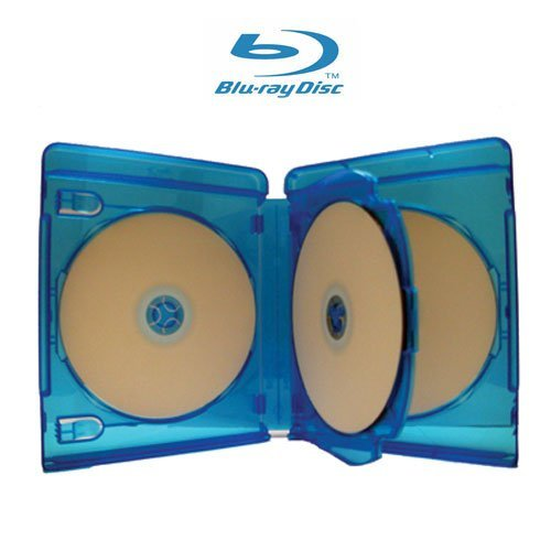 1 Empty 22mm Thick 3 Disc Replacement Boxes/Cases for Blu-Ray DVD Movies - Holds 3 Discs (DV3R22BR) (Replacement Disk Three)