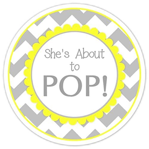 Amazoncom 36 baby shower about to pop labels she39s about to pop stickers gray chevron and for About to pop labels