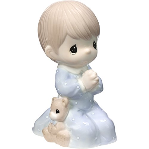 Praying Boy Porcelain - Precious Moments Praying Boy Jesus Loves Me LED Porcelain Night Light 185031 Nightlight, One Size, Multi