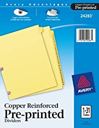 Avery  Copper Reinforced Preprinted Dividers with 1-31 Tabs, 31-Tab Set (24283)