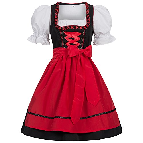 Gaudi-leathers Women's Set-3 Dirndl Pieces Embroidery Froschmaul Black/Red 38 (German Ladies Traditional Dress)
