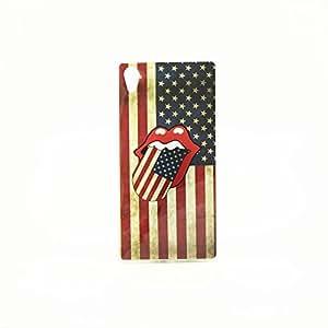 ivencase USA Flag & Big Tongue Diseño TPU Gel Piel Caso Cubierta Funda Shell Carcasa Case Cover Para Sony Xperia Z2