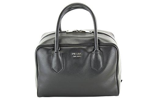 Prada Womens Soft Calf Tote - Black/Pink Leather (Prada Soft Handbag)