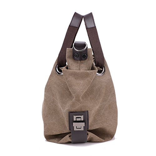 Handbags Travel Canvas Shopper Bags Hobo Capacity Large Tote Womens Brown Bag ZKOO Shoulder SqCwOw8