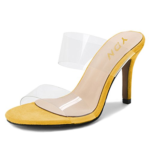 Pumps on Yellow High Heels Transparent Slip YDN Toe Shoes Open Mules Sandals Women Dress Slide qwt680