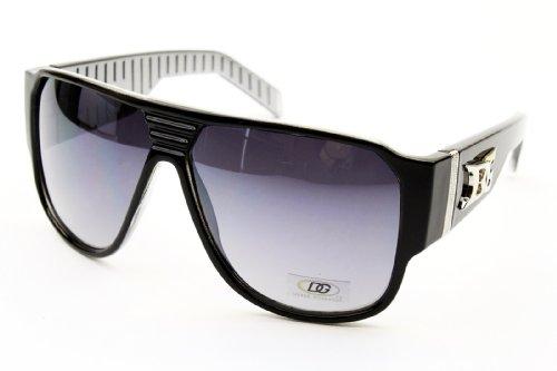 bo Aviator Pilot Gangster Fashion Sunglasses (black/silver, uv400) ()