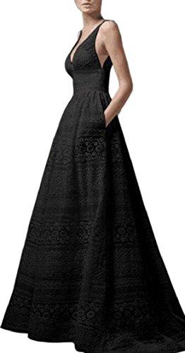 Maxi Jaycargogo Dress Black Neck V Solid Long Women Sleeveless Lace HqYHn4r