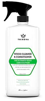 Wood Cleaner, Conditioner & Polish - For Hardwood Floors, Furniture & Cabinets - Removes Stains & Restores Shine - Wax & Oil Polisher - Works on Stained & Unfinished Surfaces - 18 OZ - TriNova