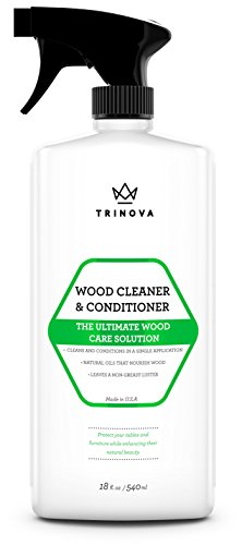 Wood Cleaner, Conditioner, Wax & Polish - Spray for Furniture & Cabinets - Removes Stains & Restores Shine - Wax & Oil Polisher - Works on Stained & Unfinished Surfaces - 18 OZ - TriNova Vermont Cabinet