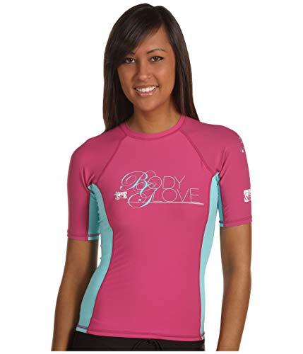 - Body Glove Womens Deluxe s/a Fitted Rashguards, Cloudberry/Glacier Blue, XS