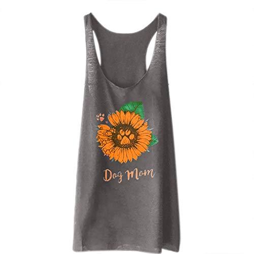 GREFER Tank Tops Women's Casual Sunflower Letter Print Vest Loose Sleeveless Tunic T-Shirt Pullover Gray