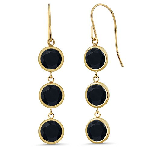 Gem Stone King 2.77 Ct Round Black Onyx 14K Yellow Gold Earrings ()