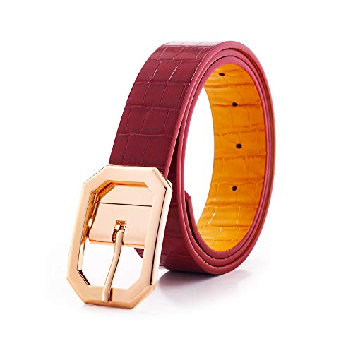 Snake Reversible Leather Belts for Women Plus Size Waist Utility Stylish Fashion Belt with Shiny Gold Buckle Nickel Free