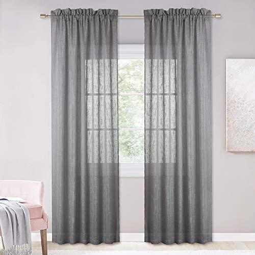 NICETOWN Linen Textured Voile Panels - Rod Pocket Design Privacy Semitransprant Sheer Drapes for Sliding Glass Door & Farmhouse (Dark Grey, 52