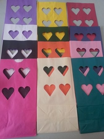 Luminary Bags - HEART CUT-OUT - Pack of