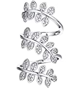 U7 Statement Rings Cotail Party Jewelry Platinum or 18K Gold Plated Clear CZ Long Leaf Ring for M...