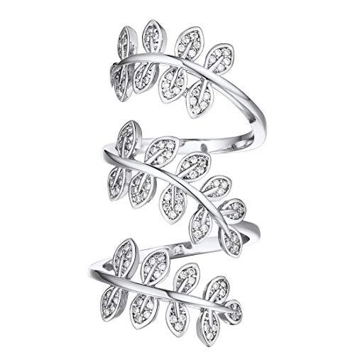 U7 Women Clear CZ Platinum Plated Leaf Shape Full Finger Long Ring, Statement Cocktail Ring, Bride Ring Adjustable