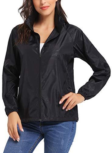 (iClosam Women Hood Lightweight Windbreaker Active Outdoor Packable Zip Jacket S-XXL Black)