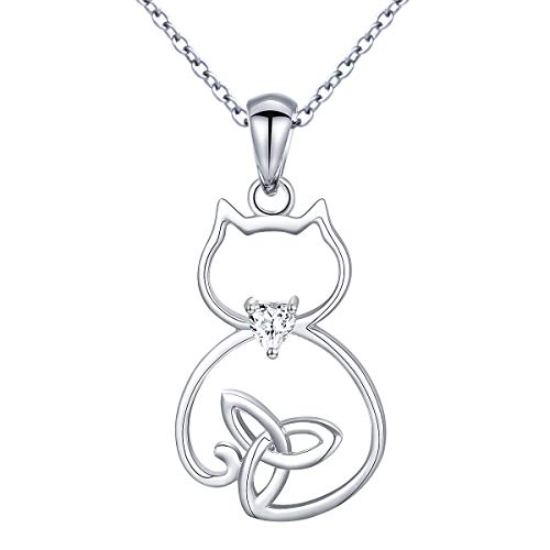 Sterling Silver Celtic Cute Cat Pendant Necklace for Women Teen Girls, 18