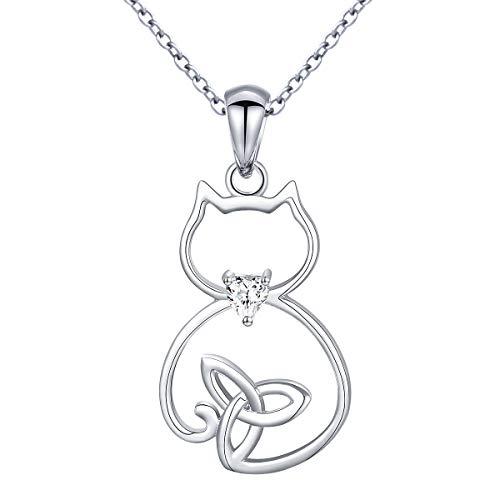 "Choker Eye Necklace Cat (Sterling Silver Celtic Cute Cat Pendant Necklace for Women Teen Girls, 18"")"