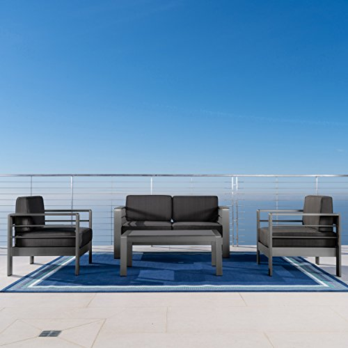 Christopher Knight Home Crested Bay Patio Furniture | Outdoor Grey Aluminum 4 Piece Loveseat Chat Set with Dark Grey Water Resistant ()