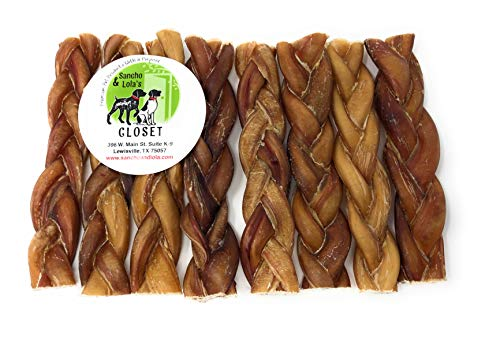 - Sancho & Lola's 6-Inch Braided Bully Sticks for Dogs (8-Count) Made in USA Gourmet Beef Pizzle Beef Dog Chews, Rawhide-FreeSee 12